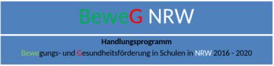 blauer Hintergrund, grüne, rote, weiße und schwarze Schrift, in der Mitte eine weiße linie waagerecht