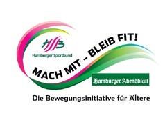 Logo der Kampagne Mach Mit - Bleib Fit. Man sieht eine grüne Welle mit vereinzelten blauen und pinken Stellen.