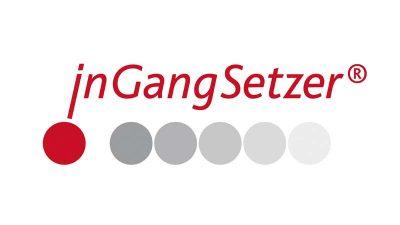 rote Schrift, darunter sechs kreise, der erste davon rot, die restlichen fünf in grauabstufungen